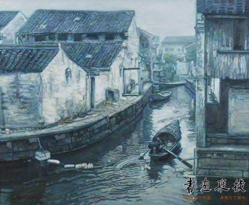 乌船里拨桨的背影仿若画家本人,轻波慢渡于原生态的江南水乡,整幅画