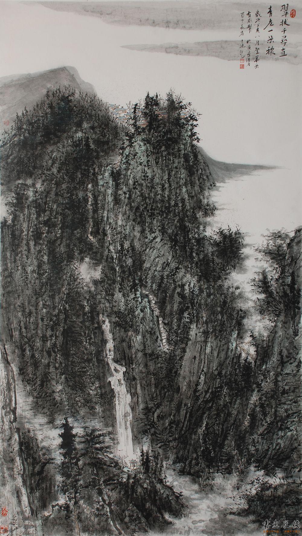 傅吉鸿 17翠拔千寻(90×180cm)纸本水墨2007年