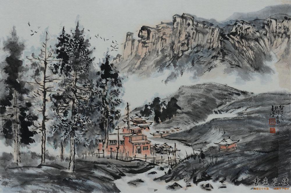傅吉鸿 流向圣山的白龙江 46×69cm 纸本水墨 2013年