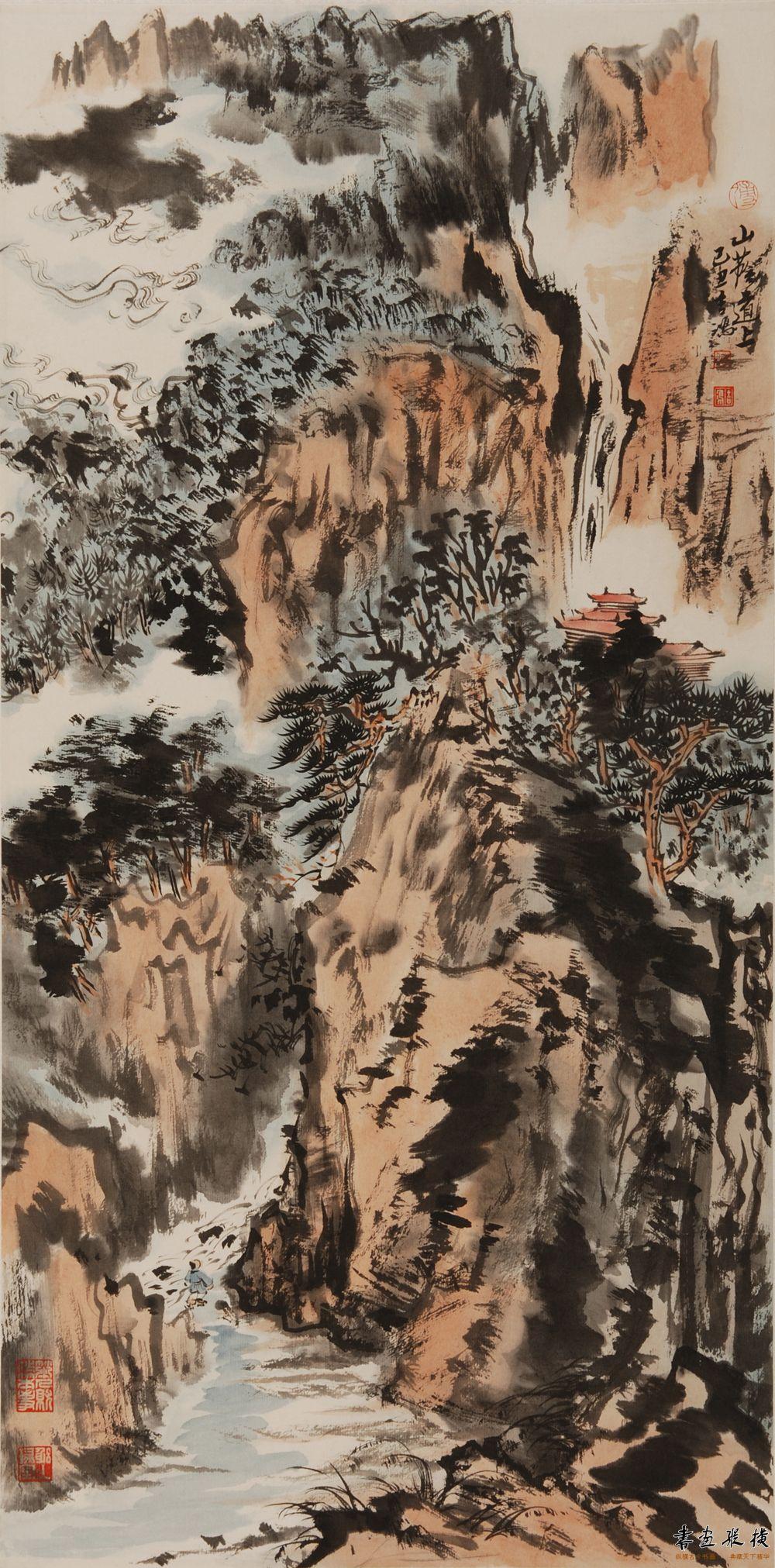 傅吉鸿 山荫道上34×68.5cm 纸本水墨2009年