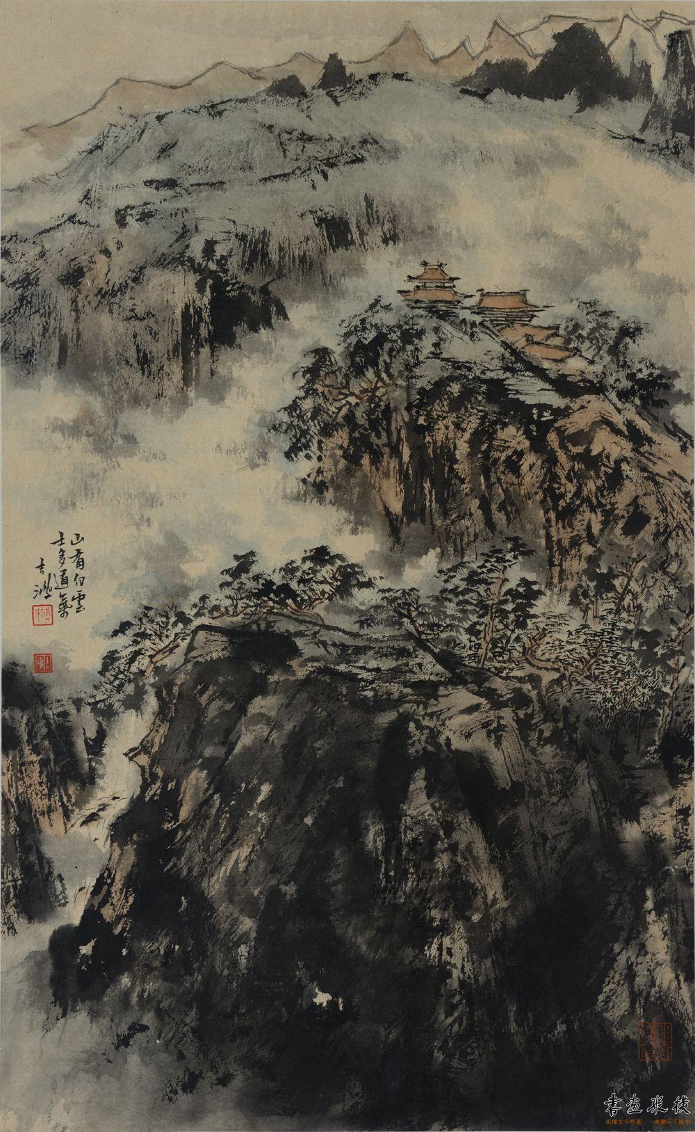 傅吉鸿 山有白云士多道气  47×76cm 纸本水墨 2011年