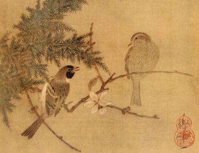 宋 赵佶 腊梅双禽图 四川省博物馆藏