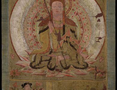 地藏菩萨像  彩绘绢本