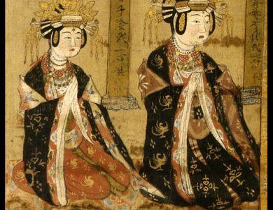 水月观音菩萨像  彩绘绢本