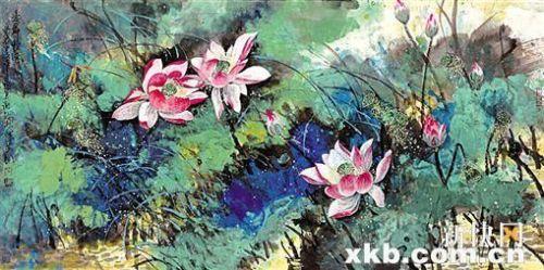 那么另一种水墨画,荷花                    现代美术的成分,体现出随