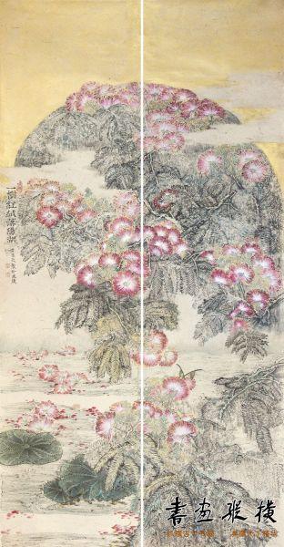 《一树红绒落阳湖》,96x178cm,2013年