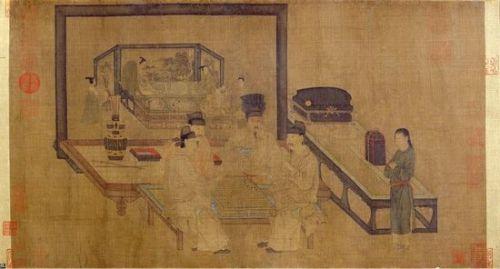 北京故宫博物院藏五代周文矩《重屏会棋图》