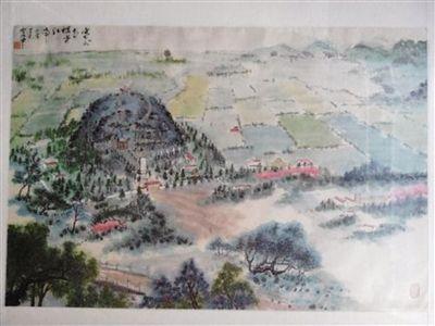 """张红军先生收藏的""""塞外青冢赛江南""""丙寅年的水墨画。"""