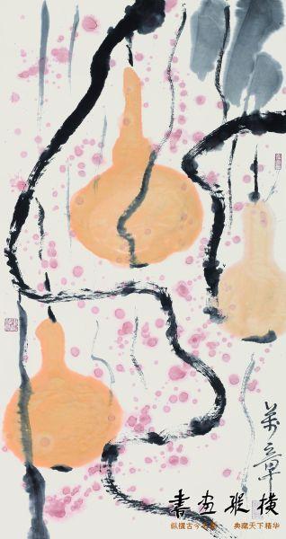 朱万章《秋实雨意》,纸本设色,96x53厘米,2014年