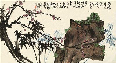 李苦禅作品《红梅竹石图》