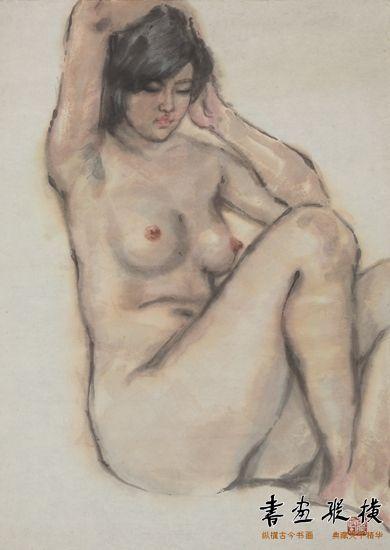 李震坚作品《女青年裸体坐像》(84.6cm×62.8cm)1980年代 浙江美术馆藏