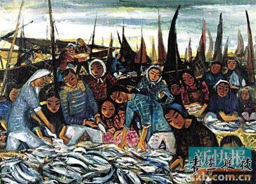 林风眠 《渔妇》 彩墨画