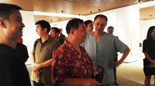 中国国家画院篆刻研究所所长曾翔观看展览
