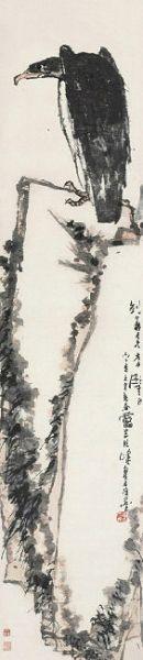 潘天寿指画《鹰石图》