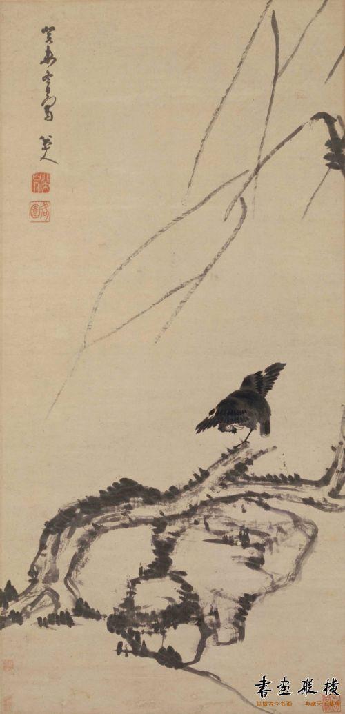 朱耷 杨柳浴禽图