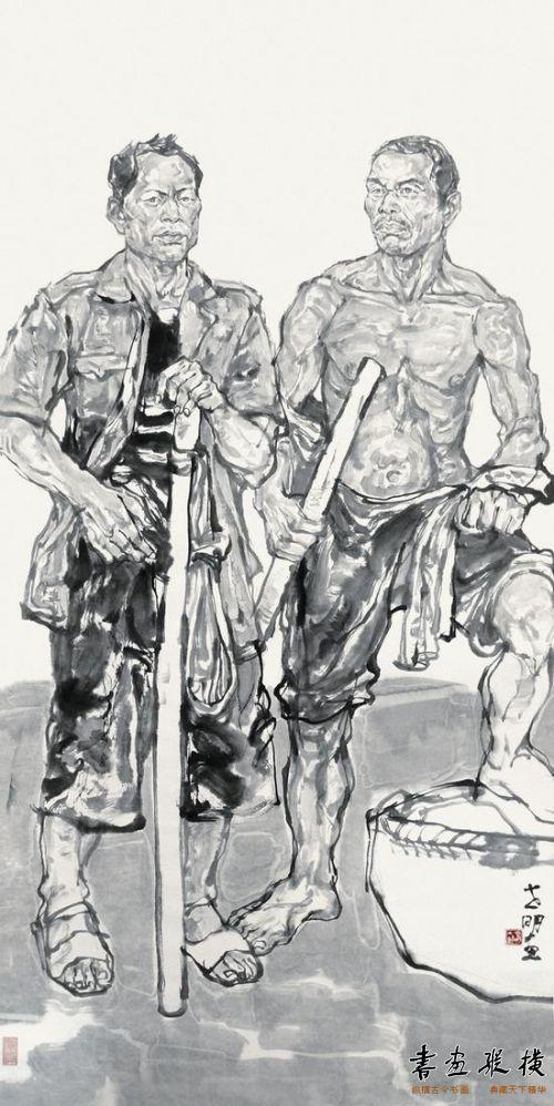 王世明 参展作品名称:《山城棒棒与收租院》2012年136x68cm世明画印章:...