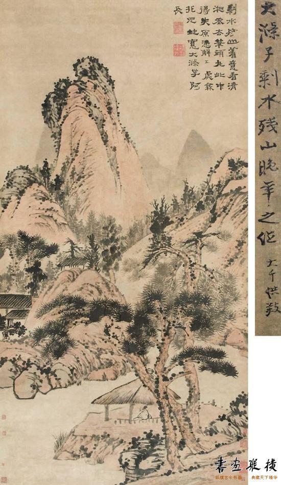 《剩水残山》,纸本立轴,176×90cm。无论笔墨技法,还是画中意境,都是石涛精心之作。