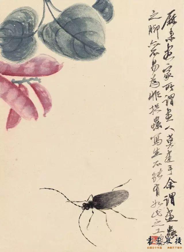 天牛豆角(草虫册十二开之十)齐白石 25.3cm×18.4cm 无年款 中国美术馆藏
