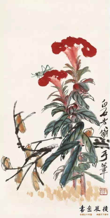 鸡冠蝗虫 齐白石 纸本设色 69.54cm×35cm 北京画院藏