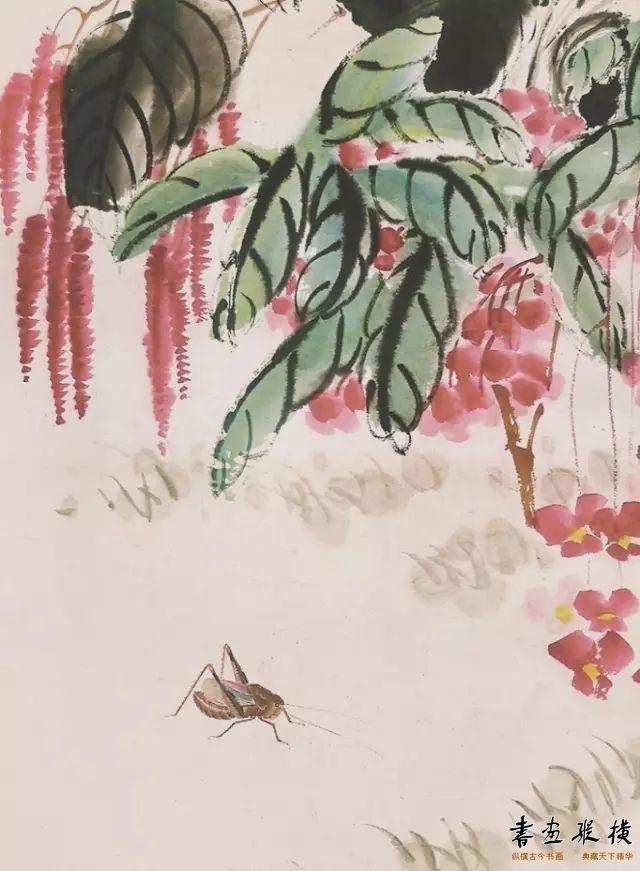 蝶舞花开(局部)齐白石 设色纸本 150cm×66.8cm 1941年 私人收藏