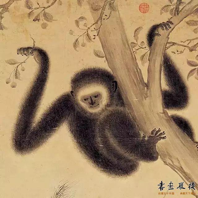朱瞻基《戏猿图》(局部)