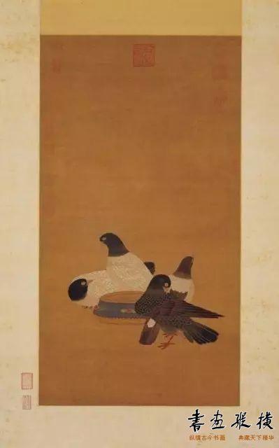 朱瞻基《金盆鹁鸽图轴》