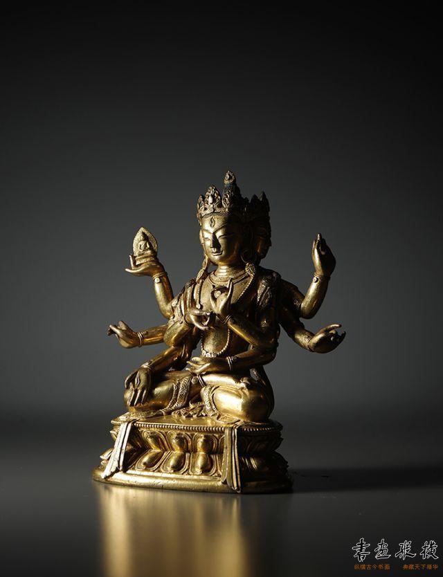2016西泠秋拍 清康熙·铜鎏金尊胜佛母像 高:16.7cm
