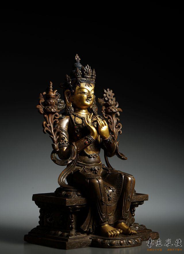 2016西泠秋拍 清乾隆·铜鎏金弥勒降生坐像 高:24.4cm