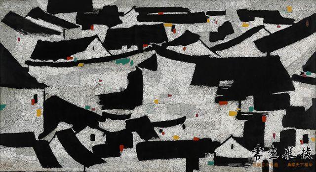 16 2016西泠秋拍 吴冠中 最大幅漆画 屋宇 97x179cm