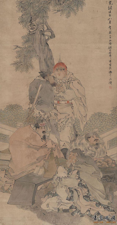2016西泠秋拍 任伯年 五路财神图 177.5×93cm