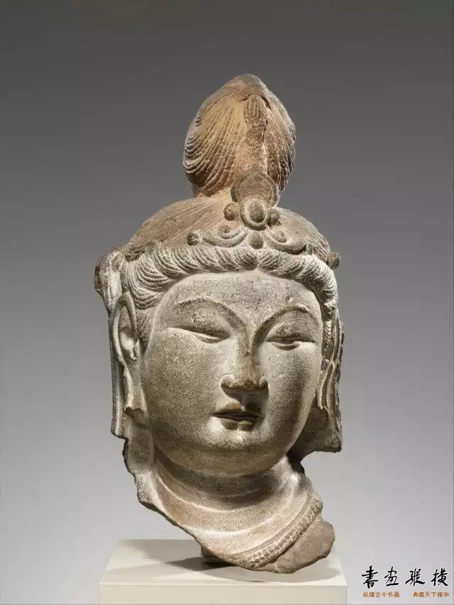 唐 天龙山第21窟 彩绘石雕菩萨头像纽约大都会博物馆藏