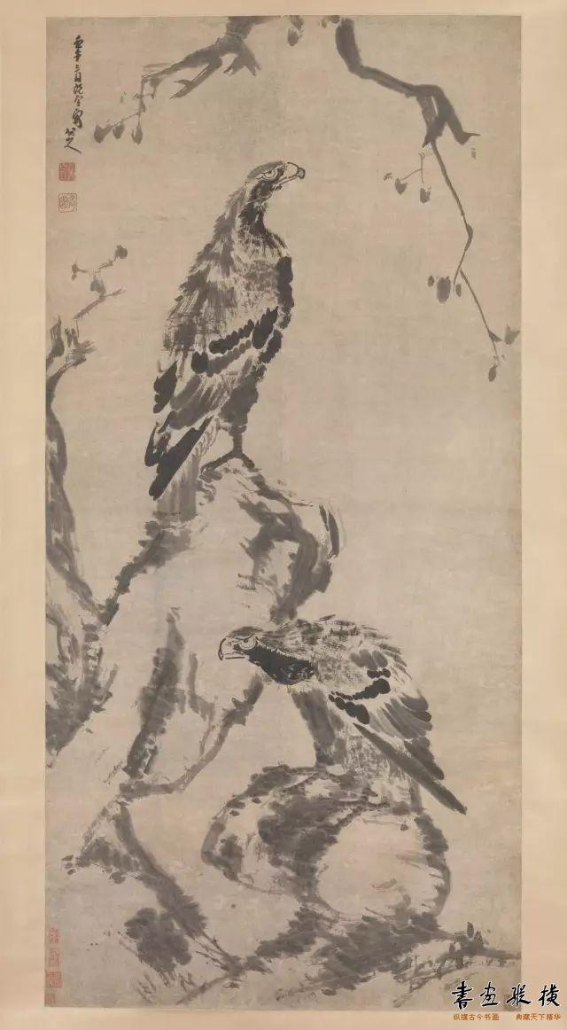 清 八大山人《二鹰图》纽约大都会博物馆藏
