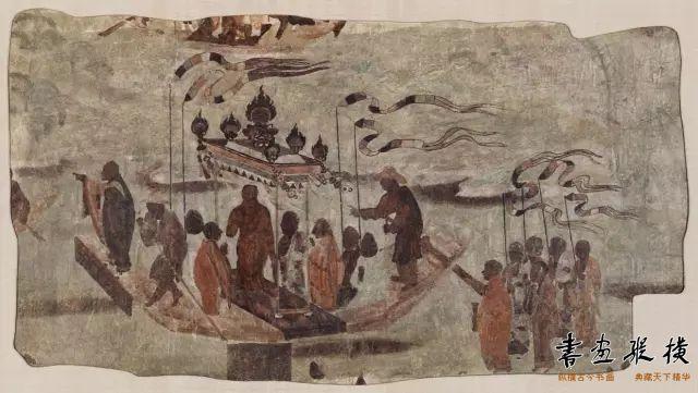 唐 敦煌莫高窟第323窟 八人乘船运送佛像壁画 哈佛艺术博物馆藏