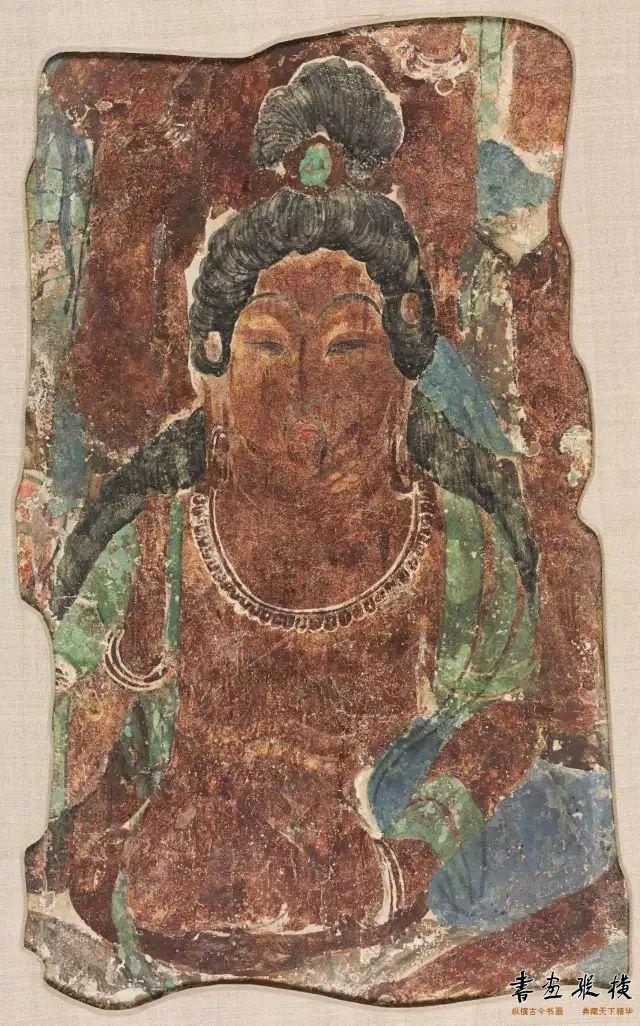 唐 敦煌莫高窟第329窟 菩萨头像壁画 哈佛艺术博物馆藏