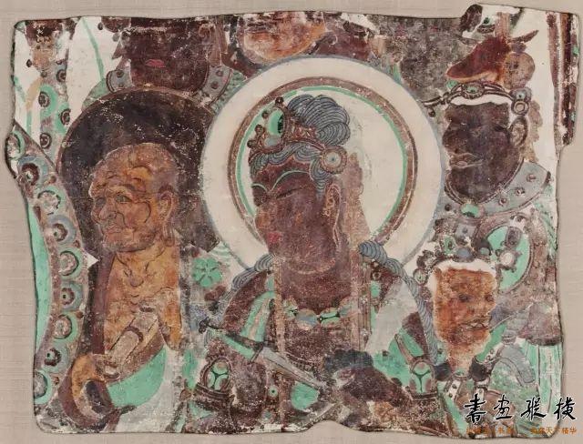 唐 敦煌莫高窟第335窟 菩萨头像壁画 哈佛艺术博物馆藏