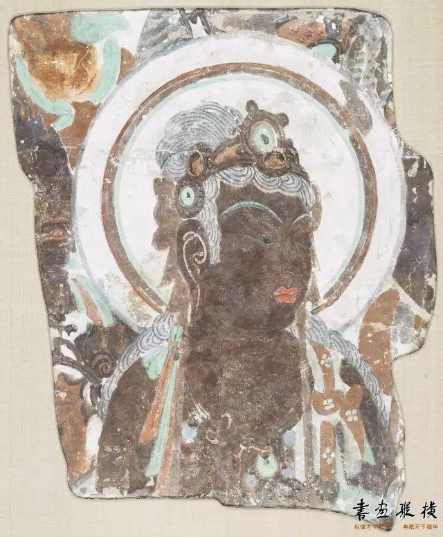 唐 敦煌莫高窟第320窟 菩萨头像壁画 哈佛艺术博物馆藏