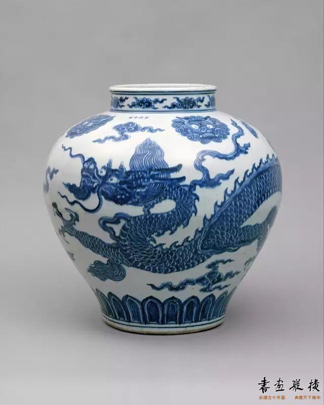 明 龙纹青花瓷瓶 纽约大都会博物馆藏