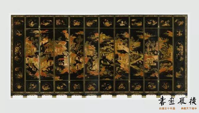 清 黑漆描金屏风 波士顿迪美艺术博物馆藏