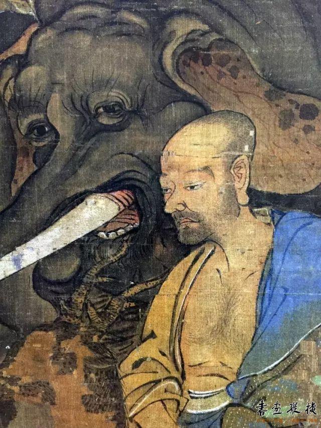 大象是世界的支柱 它的眼神必定悲悯慈爱 僧人右臂的衣纹用笔如此霸悍精准