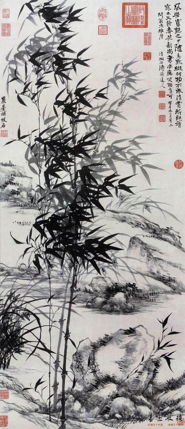 清 石涛 纸本,133.5厘米X57.3厘米,现藏于台北故宫博物院,
