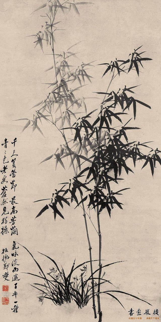 清 郑燮 兰竹图 纸本 墨笔 纵167.5厘米 横83厘米