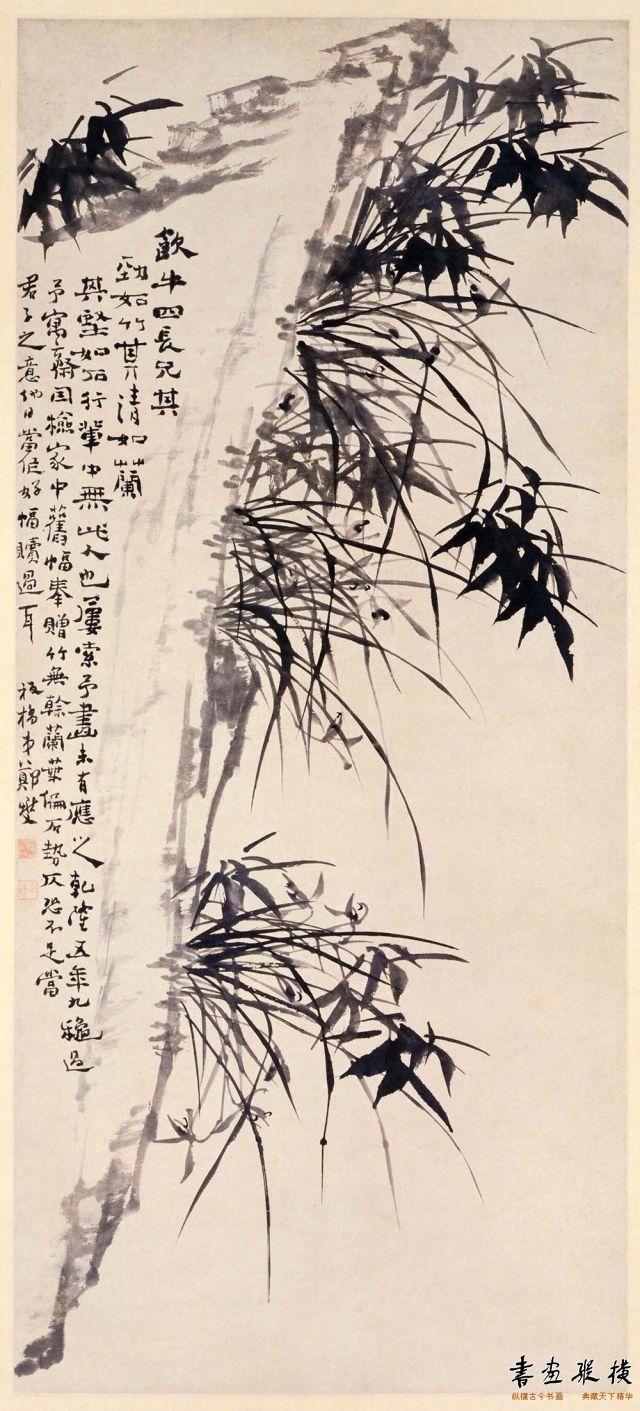 清 郑燮 墨笔竹石图 纸本 墨笔 纵127.6厘米 横57.7厘米 故宫博物院藏