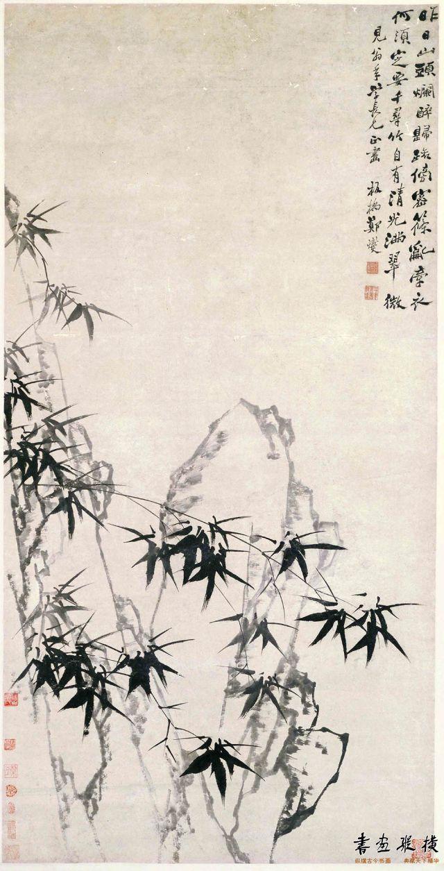 清 郑燮 墨笔竹石图 纸本 墨笔 纵160.9厘米 横81.8厘米 故宫博物院藏