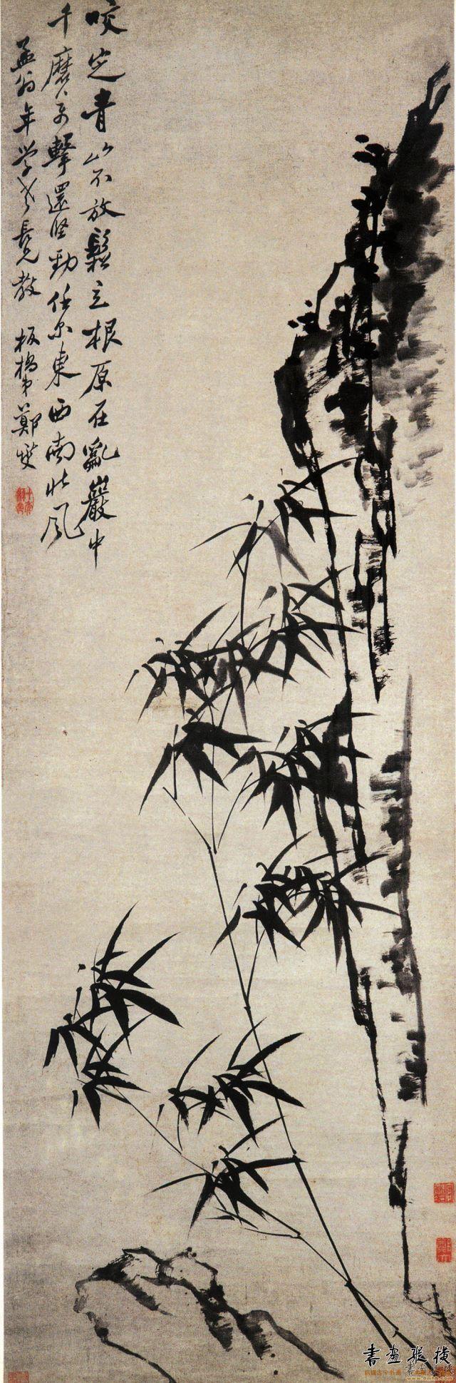 清 郑燮 竹石图轴 纸本水墨 纵51.4厘米 横160厘米 南京博物院藏