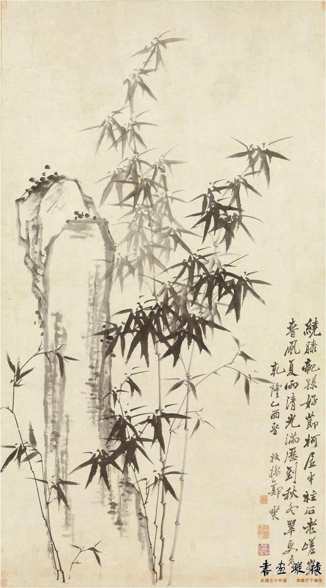 清 郑燮 竹石图轴 纸本水墨 纵185.5厘米 横102.5厘米 美国克利夫兰美术馆藏