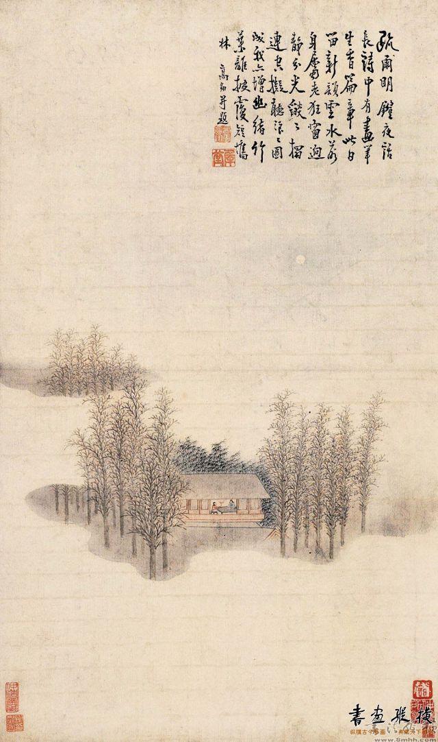 清 高翔 疏林夜话图 纸本 设色 纵68.6厘米 横40.5厘米