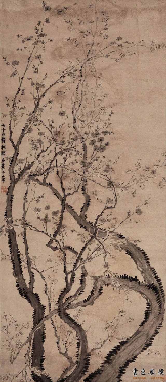 清 金农 双色梅花图 纵129.5厘米 横56.3厘米 中国美术馆藏