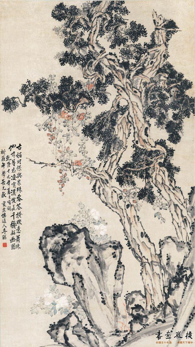 清 李鱓 古柏凌霄图 纵213.35厘米 横120厘米 天津博物馆藏
