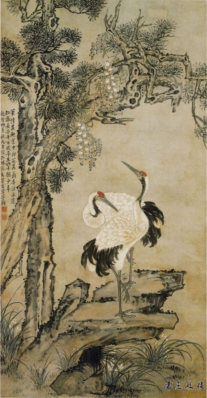 清 李鱓 松鹤延年图 纸本 设色 纵172厘米 横91厘米