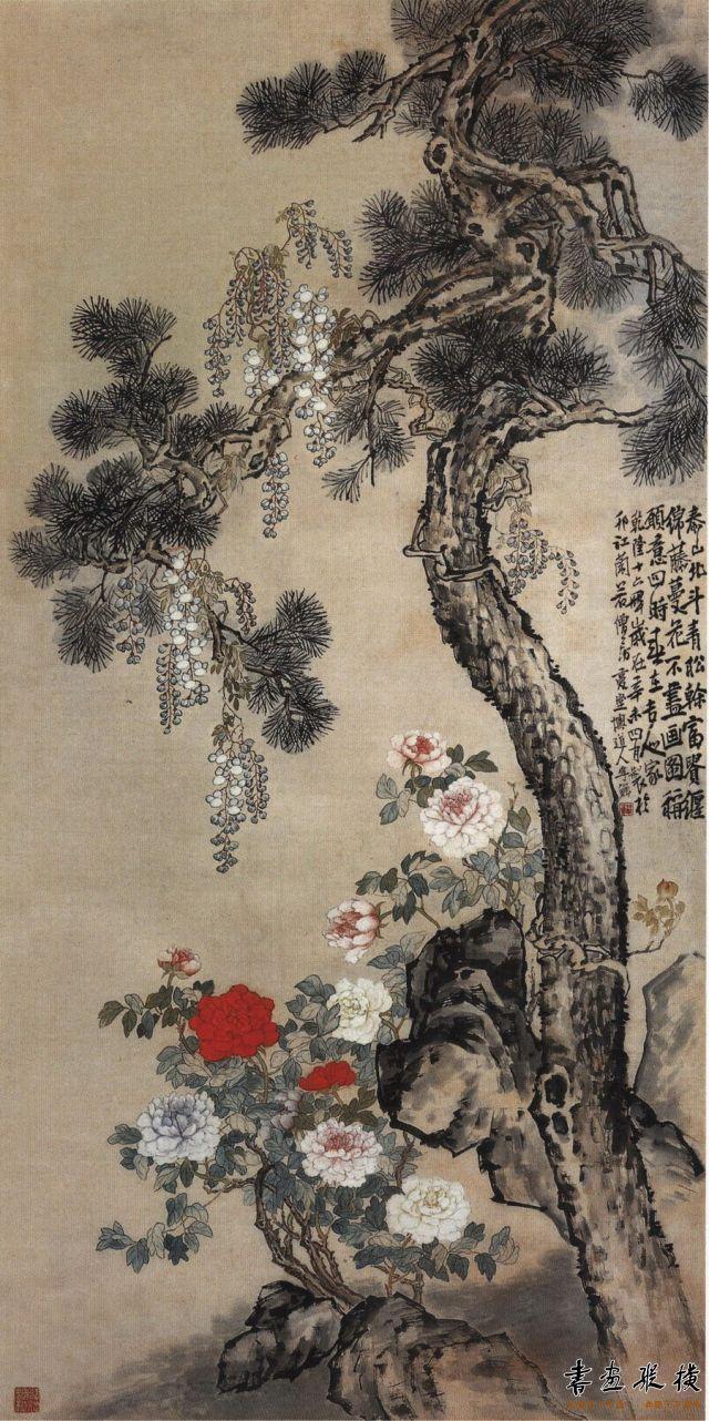 清 李鱓 松藤图 纸本 设色 纵124厘米 横62.6厘米 上海博物館藏
